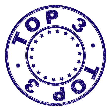 TOP 3 stamp seal watermark with grunge texture. Designed with circles and stars. Blue vector rubber print of TOP 3 text with unclean texture.