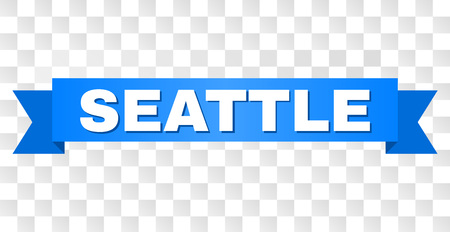 SEATTLE text on a ribbon. Designed with white caption and blue stripe. Vector banner with SEATTLE tag on a transparent background.