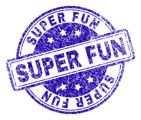SUPER FUN stamp seal imprint with distress texture. Designed with rounded rectangles and circles. Blue vector rubber print of SUPER FUN title with dust texture. Vector Illustratie