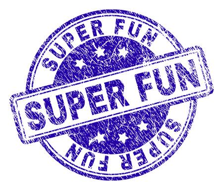 SUPER FUN Stempelsiegelaufdruck mit Distress-Textur. Entworfen mit abgerundeten Rechtecken und Kreisen. Blauer Vektorgummidruck des SUPER FUN-Titels mit Staubtextur. Vektorgrafik