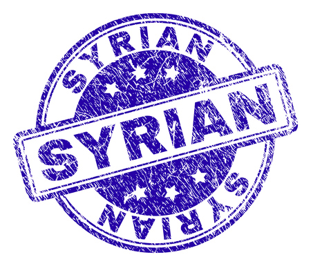 SYRIAN stamp seal watermark with grunge texture. Designed with rounded rectangles and circles. Blue vector rubber print of SYRIAN caption with scratched texture. Illustration