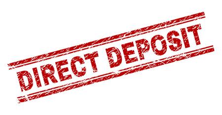 DIRECT DEPOSIT Siegeldruck mit Grunge-Textur. Roter Vektorgummidruck der DIRECT DEPOSIT-Beschriftung mit Grunge-Textur. Die Textbeschriftung wird zwischen doppelten parallelen Linien platziert.