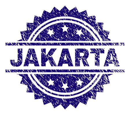 JAKARTA stamp seal watermark with distress style. Blue vector rubber print of JAKARTA tag with dirty texture.