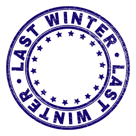 ULTIMO INVERNO timbro sigillo filigrana con struttura del grunge. Progettato con forme rotonde e stelle. Stampa in gomma blu vettoriale dell'etichetta ULTIMO INVERNO con struttura del grunge.
