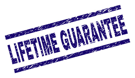 LIFETIME GUARANTEE seal print with grunge style. Blue vector rubber print of LIFETIME GUARANTEE label with grunge texture. Text title is placed between parallel lines. Stock Vector - 126478862