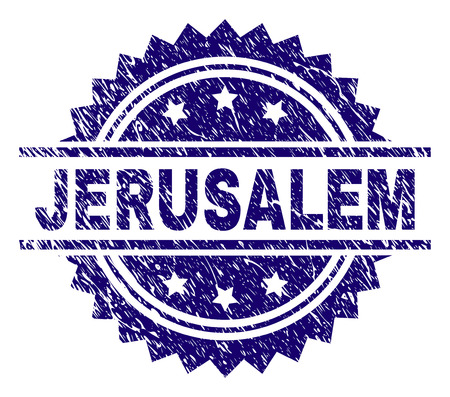 JERUSALEM stamp seal watermark with distress style. Blue vector rubber print of JERUSALEM label with grunge texture.