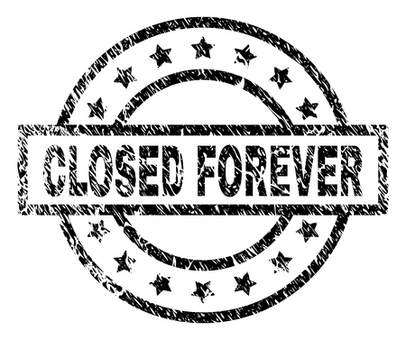 CLOSED FOREVER stamp seal watermark with distress style. Designed with rectangle, circles and stars. Black vector rubber print of CLOSED FOREVER text with unclean texture.