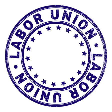 LABOR UNION stamp seal imprint with grunge texture. Designed with circles and stars. Blue vector rubber print of LABOR UNION tag with grunge texture.