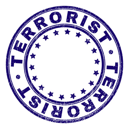TERRORIST stamp seal watermark with distress texture. Designed with circles and stars. Blue vector rubber print of TERRORIST label with retro texture.