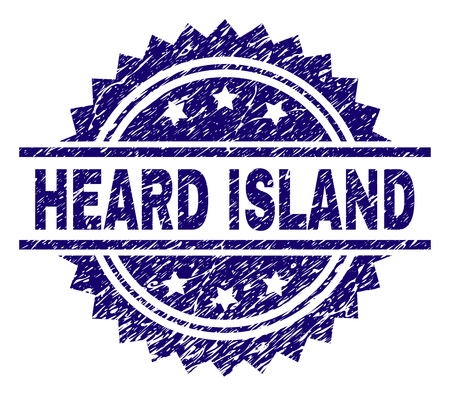 HEARD ISLAND stamp seal watermark with distress style. Blue vector rubber print of HEARD ISLAND tag with grunge texture.