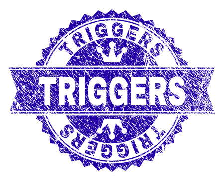 TRIGGERS rosette stamp watermark with distress texture. Designed with round rosette, ribbon and small crowns. Blue vector rubber watermark of TRIGGERS label with retro texture.