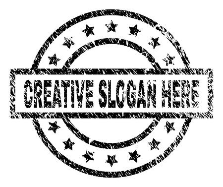 CREATIVE SLOGAN HERE stamp seal watermark with distress style. Designed with rectangle, circles and stars. Black vector rubber print of CREATIVE SLOGAN HERE text with retro texture. Illustration