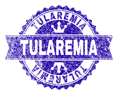 TULAREMIA rosette stamp seal imitation with grunge style. Designed with round rosette, ribbon and small crowns. Blue vector rubber watermark of TULAREMIA tag with corroded style.