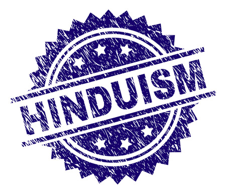 HINDUISM stamp seal watermark with distress style. Blue vector rubber print of HINDUISM tag with dirty texture.