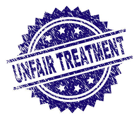UNFAIR TREATMENT stamp seal watermark with distress style. Blue vector rubber print of UNFAIR TREATMENT title with unclean texture.