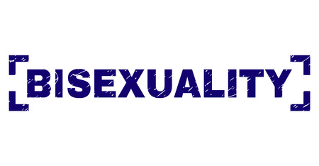 BISEXUALITY label seal imprint with grunge texture. Text title is placed between corners. Blue vector rubber print of BISEXUALITY with grunge texture. Illustration