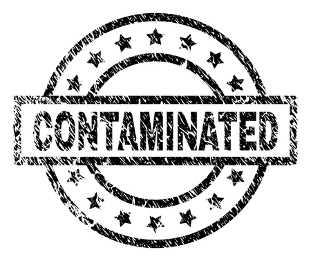 CONTAMINATED stamp seal watermark with distress style. Designed with rectangle, circles and stars. Black vector rubber print of CONTAMINATED text with grunge texture.