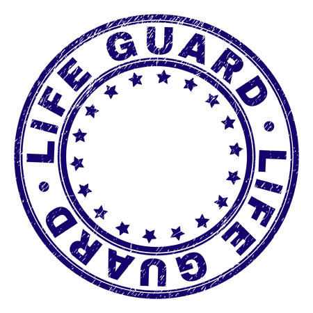 LIFE GUARD stamp seal imprint with distress texture. Designed with round shapes and stars. Blue vector rubber print of LIFE GUARD label with corroded texture. Illustration