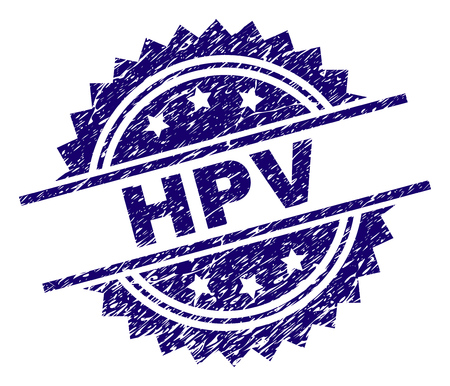 HPV stamp seal watermark with distress style. Blue vector rubber print of HPV caption with corroded texture. Illustration