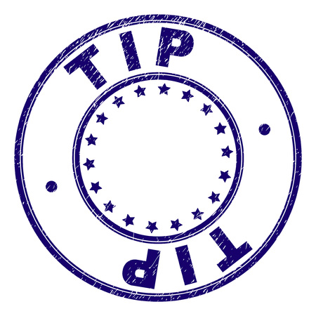 TIP stamp seal watermark with grunge texture. Designed with round shapes and stars. Blue vector rubber print of TIP label with grunge texture.