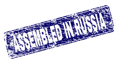 ASSEMBLED IN RUSSIA stamp seal print with distress style. Seal shape is a rounded rectangle with frame. Blue vector rubber print of ASSEMBLED IN RUSSIA tag with grunge style.