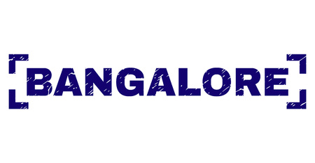 BANGALORE title seal print with grunge effect. Text title is placed inside corners. Blue vector rubber print of BANGALORE with grunge texture. Illustration