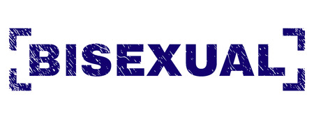BISEXUAL text seal imprint with corroded texture. Text tag is placed between corners. Blue vector rubber print of BISEXUAL with corroded texture.
