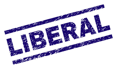 LIBERAL seal print with distress style. Blue vector rubber print of LIBERAL text with dust texture. Text title is placed between parallel lines. Çizim