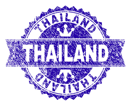 THAILAND rosette stamp seal overlay with grunge style. Designed with round rosette, ribbon and small crowns. Blue vector rubber watermark of THAILAND caption with retro style.