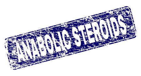 Impresión de sello de sello de ESTEROIDES ANABÓLICOS con textura grunge. La forma del sello es un rectángulo redondeado con marco. Impresión de goma azul vector de etiqueta de ESTEROIDES ANABÓLICOS con estilo grunge. Ilustración de vector