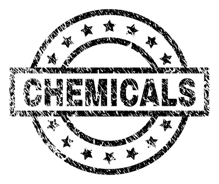 CHEMICALS stamp seal watermark with distress style. Designed with rectangle, circles and stars. Black vector rubber print of CHEMICALS label with corroded texture. Illustration