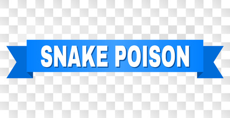 SNAKE POISON text on a ribbon. Designed with white title and blue tape. Vector banner with SNAKE POISON tag on a transparent background.