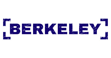 BERKELEY title seal print with grunge texture. Text title is placed between corners. Blue vector rubber print of BERKELEY with unclean texture.