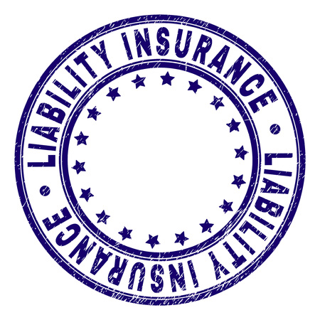LIABILITY INSURANCE stamp seal imprint with grunge style. Designed with circles and stars. Blue vector rubber print of LIABILITY INSURANCE label with grunge texture. Illustration