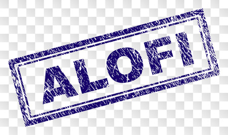 ALOFI stamp seal print with rubber print style and double framed rectangle shape. Stamp is placed on a transparent background. Blue vector rubber print of ALOFI text with dust texture.
