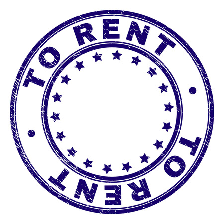TO RENT stamp seal imprint with distress texture. Designed with circles and stars. Blue vector rubber print of TO RENT title with dust texture.