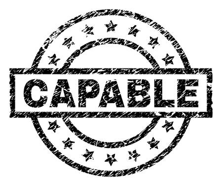 CAPABLE timbro sigillo filigrana con stile di soccorso. Progettato con rettangolo, cerchi e stelle. Stampa in gomma nera vettoriale dell'etichetta CAPABLE con trama sporca.