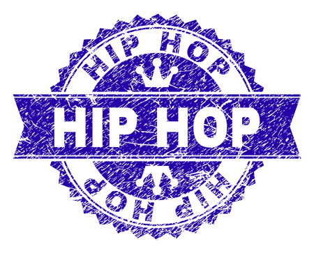 HIP HOP rosette seal imitation with distress style. Designed with round rosette, ribbon and small crowns. Blue vector rubber watermark of HIP HOP label with scratched style.