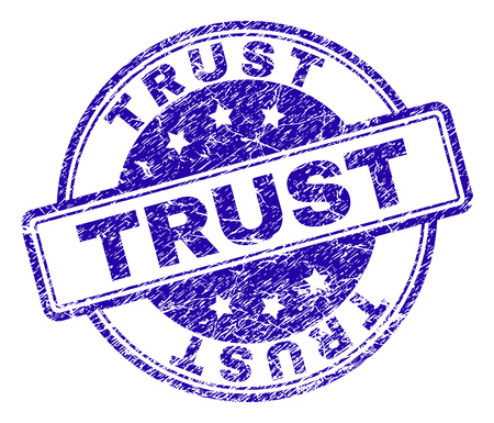 TRUST stamp seal imprint with grunge texture. Designed with rounded rectangles and circles. Blue vector rubber print of TRUST title with grunge texture.