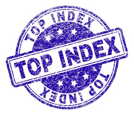 TOP INDEX timbro sigillo filigrana con stile grunge. Progettato con rettangoli e cerchi arrotondati. Stampa in gomma blu vettoriale dell'etichetta TOP INDEX con struttura del grunge.