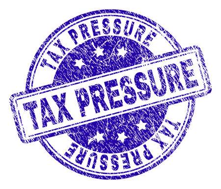 TAX PRESSURE stamp seal watermark with distress texture. Designed with rounded rectangles and circles. Blue vector rubber print of TAX PRESSURE text with dirty texture.