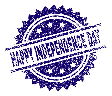 HAPPY INDEPENDENCE DAY stamp seal watermark with distress style. Blue vector rubber print of HAPPY INDEPENDENCE DAY tag with unclean texture.