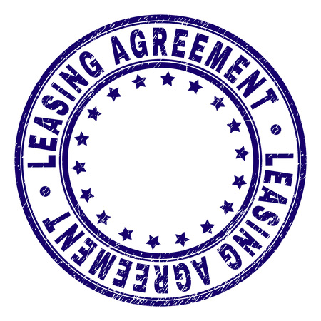 LEASING AGREEMENT stamp seal watermark with distress texture. Designed with round shapes and stars. Blue vector rubber print of LEASING AGREEMENT text with unclean texture.