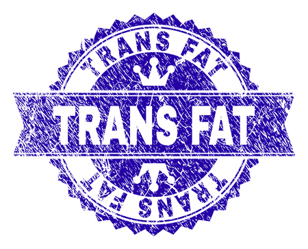 TRANS FAT rosette stamp imitation with grunge style. Designed with round rosette, ribbon and small crowns. Blue vector rubber watermark of TRANS FAT tag with grunge style.