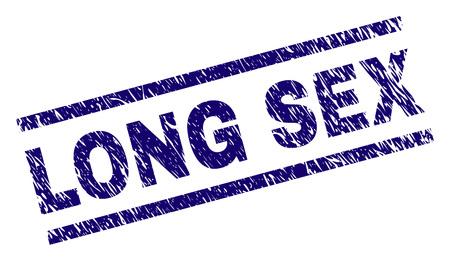 LONG SEX Siegeldruck im Grunge-Stil. Blauer Vektorgummidruck des LONG SEX-Etiketts mit unreiner Textur Die Textbeschriftung wird zwischen parallelen Linien platziert.