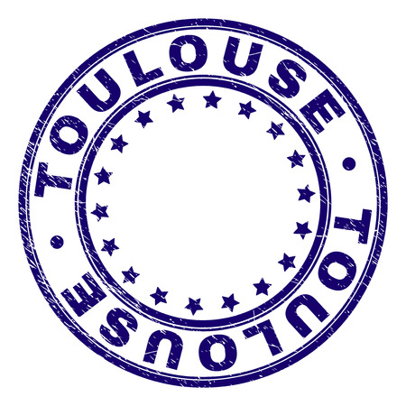 TOULOUSE stamp seal watermark with grunge style. Designed with round shapes and stars. Blue vector rubber print of TOULOUSE tag with grunge texture. Ilustração