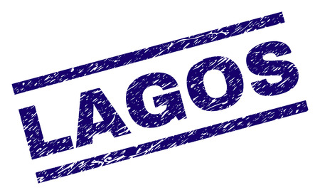 LAGOS seal print with grunge style. Blue vector rubber print of LAGOS text with corroded texture. Text label is placed between parallel lines.