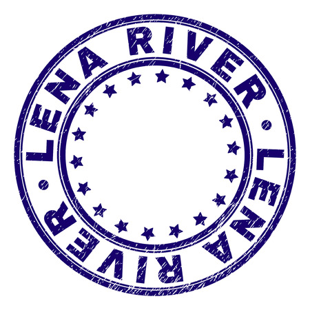 LENA RIVER stamp seal imprint with grunge effect. Designed with circles and stars. Blue vector rubber print of LENA RIVER label with grunge texture. Illustration