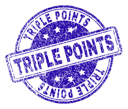 TRIPLE POINTS stamp seal imprint with distress texture. Designed with rounded rectangles and circles. Blue vector rubber print of TRIPLE POINTS text with dust texture.