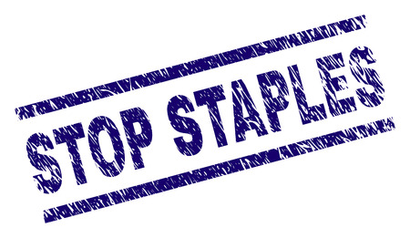 STOP STAPLES seal print with distress style. Blue vector rubber print of STOP STAPLES label with corroded texture. Text caption is placed between parallel lines.